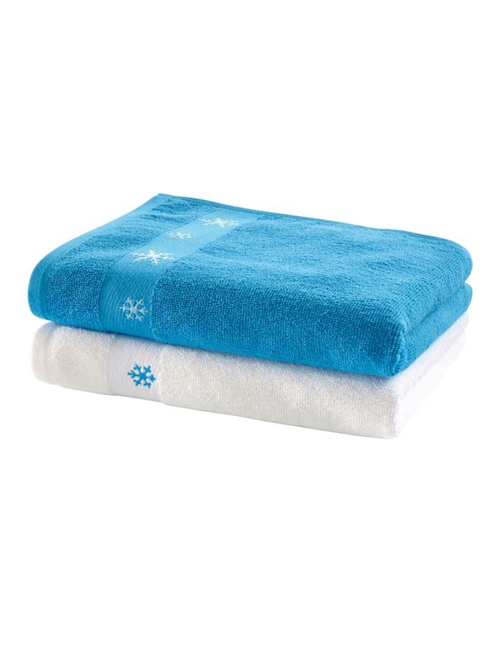 KLiNGEL Set van 2 handdoeken Sneeuwvlokken, wit/blauw