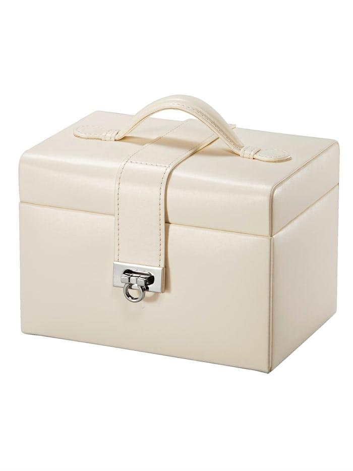 Golden Style Sieradenkoffer van crèmekleurig imitatieleer, Crème