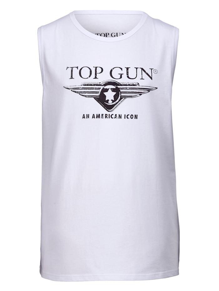 Top Gun Mouwloos shirt met ronde hals, Wit