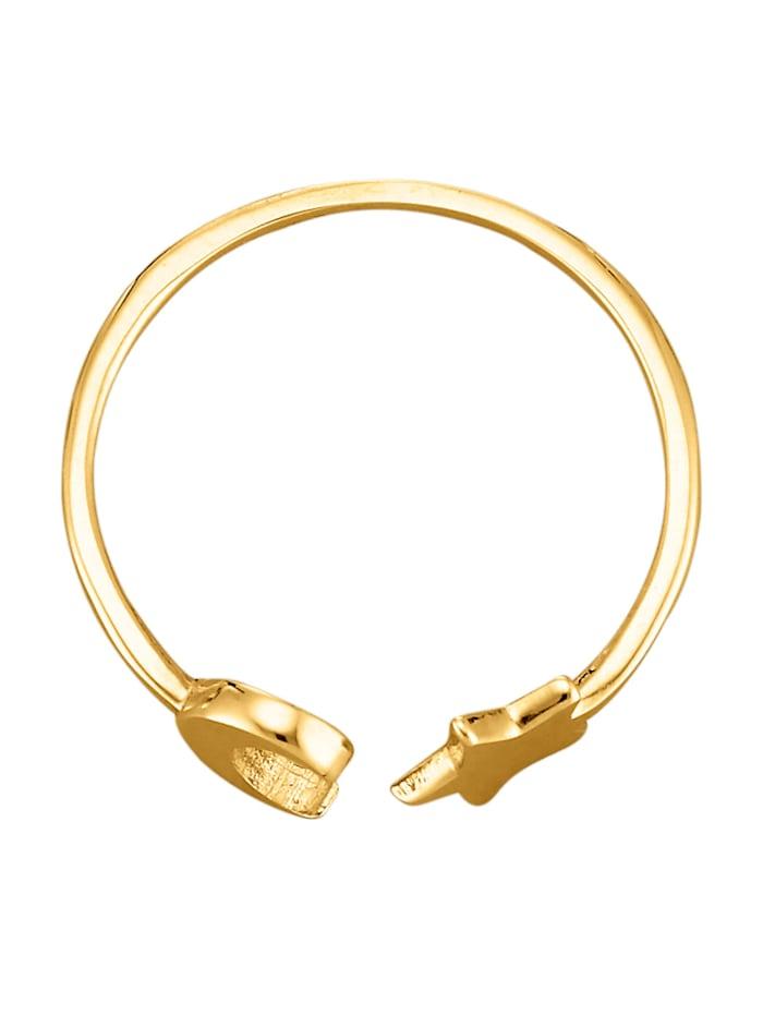 Mond-Stern-Ring in Gelbgold 375