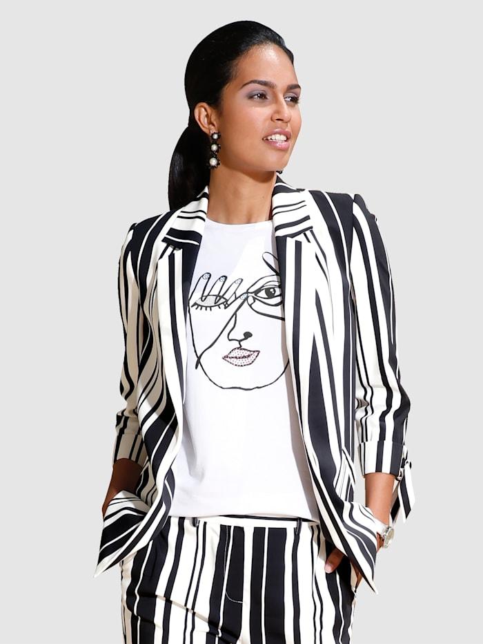 AMY VERMONT Blazer in verschlussloser Form und mit modischem Streifendessin, Schwarz/Off-white