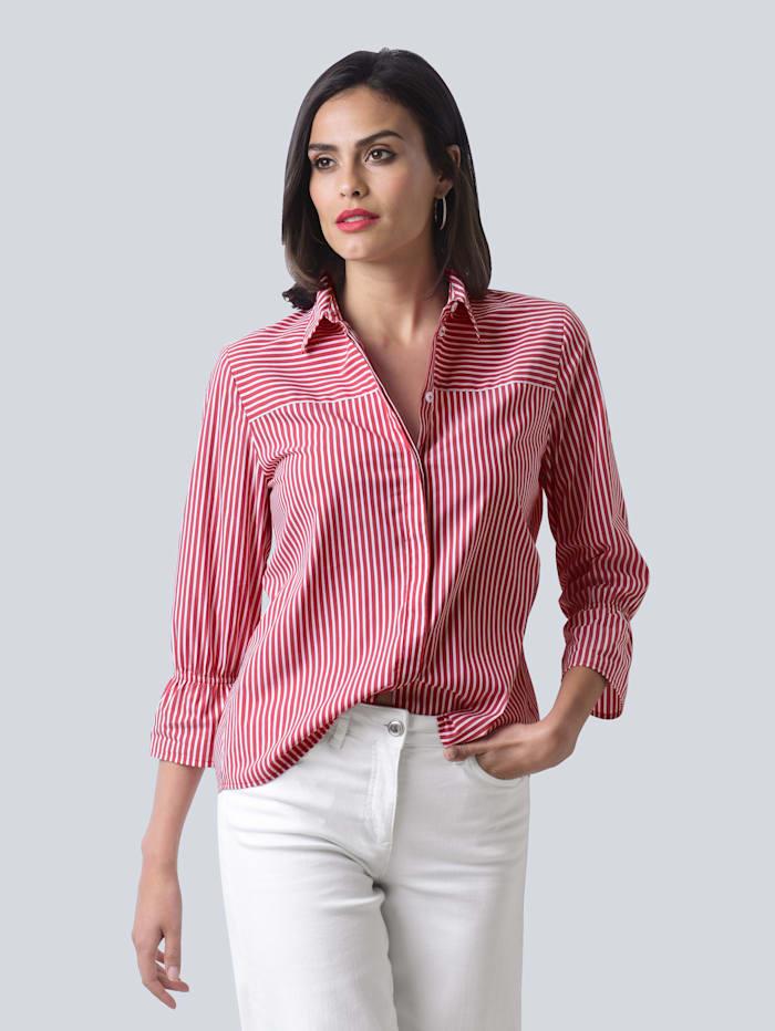 Alba Moda Bluse mit Streifendessin, Rot/Weiß