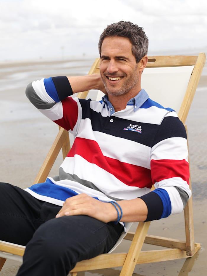 BABISTA Sweatshirt met denim- contrasten, Wit/Blauw