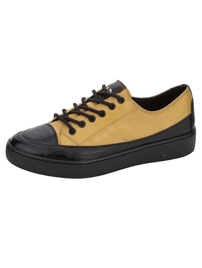 Gerry Weber Sneakers à plateau à semelle de marche continue en EVA très légère, Noir/Jaune