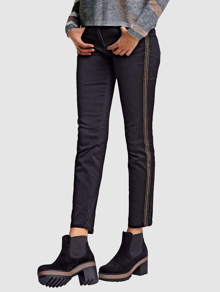 Alba Moda Jean en matière confortable et extensible, Black stone