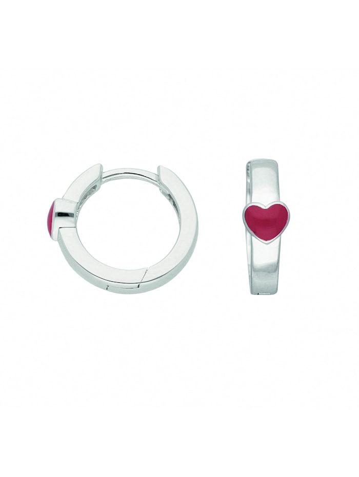 1001 Diamonds Damen Silberschmuck 925 Silber Ohrringe / Creolen Herz Ø 14 mm, silber