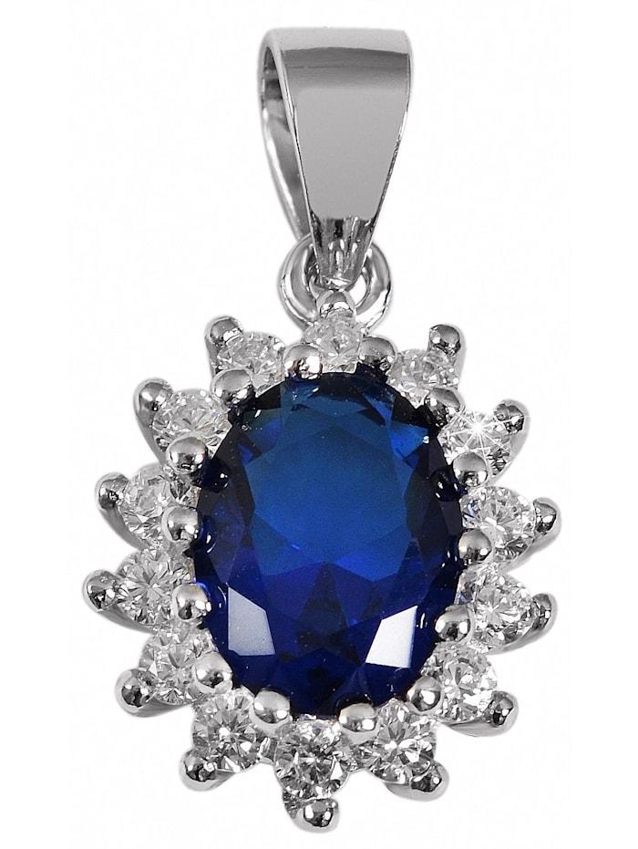 1001 Diamonds Damen Anhänger oval aus 925 Silber mit Zirkonia, blau