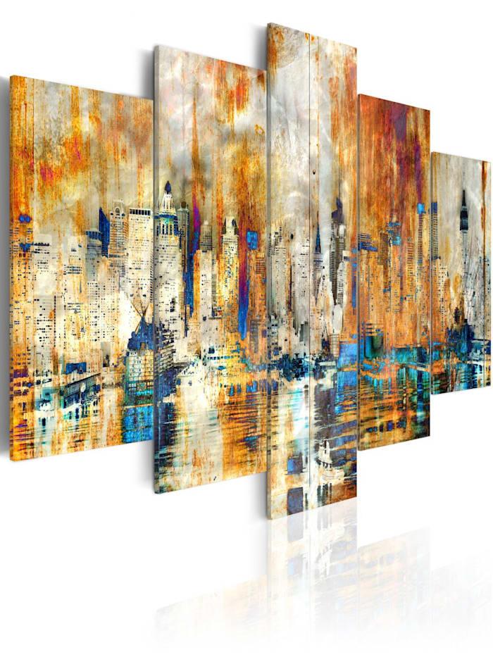 artgeist Wandbild Erinnerung an eine Stadt, Blau,Braun,Creme,Grau,Orange