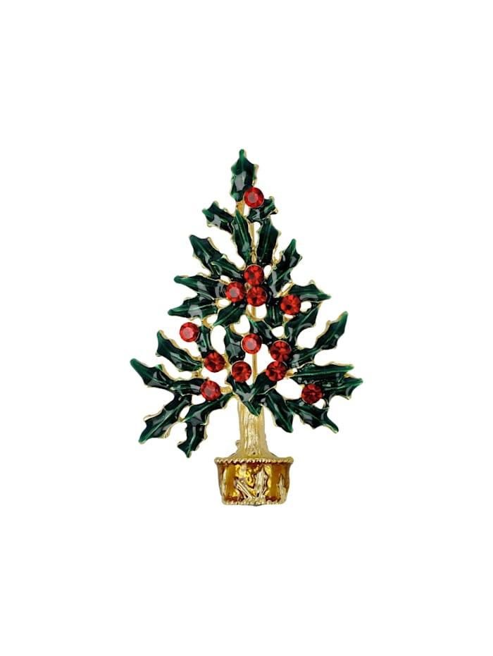 Fitz&Floyd Fitz&Floyd Brosche Baum grün mit roten Kugeln, Bunt