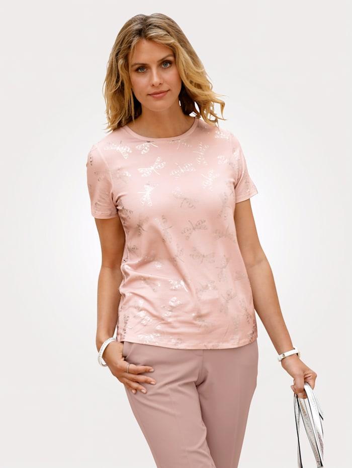 delmod T-shirt, Rose/Coloris argent