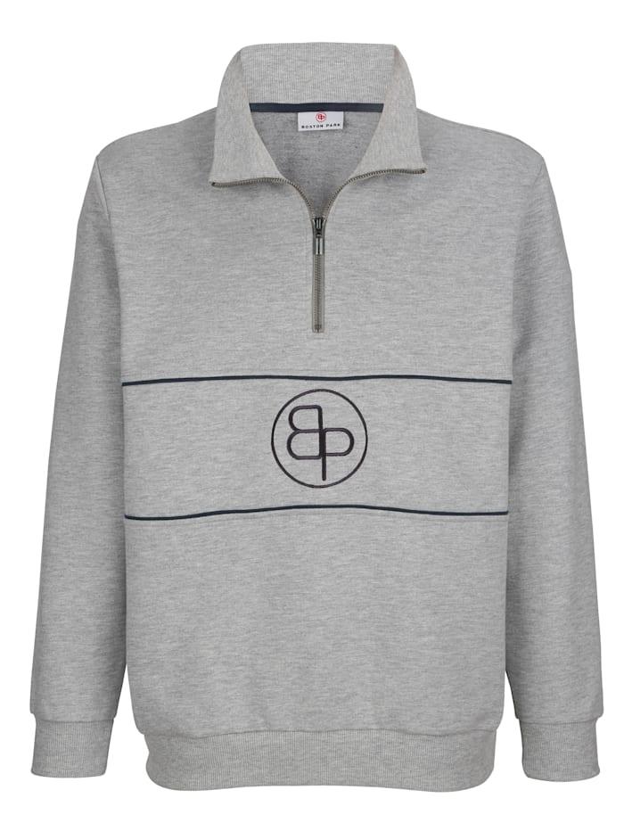 Boston Park Sweat-shirt Broderie devant, Gris