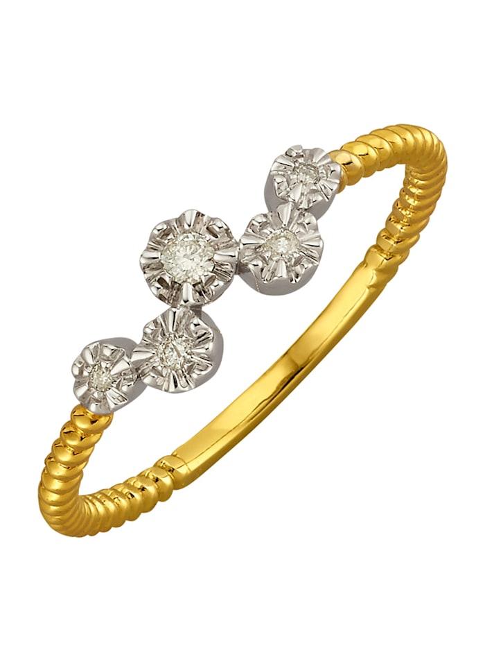 Damenring mit Diamanten, Gelbgoldfarben