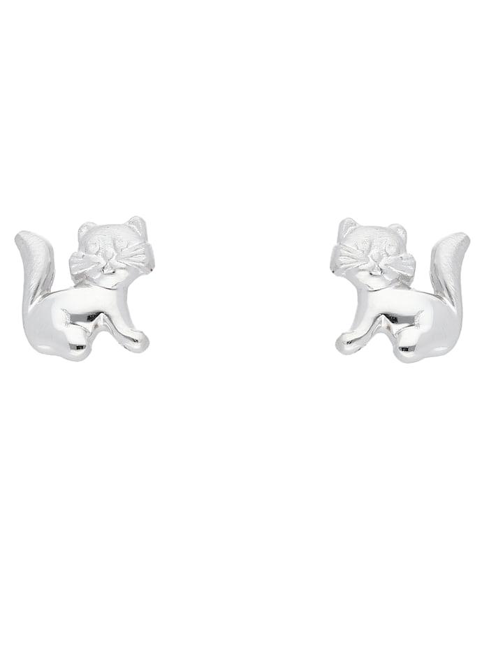 1001 Diamonds 1001 Diamonds Damen Silberschmuck 925 Silber Ohrringe / Ohrstecker Katze, silber