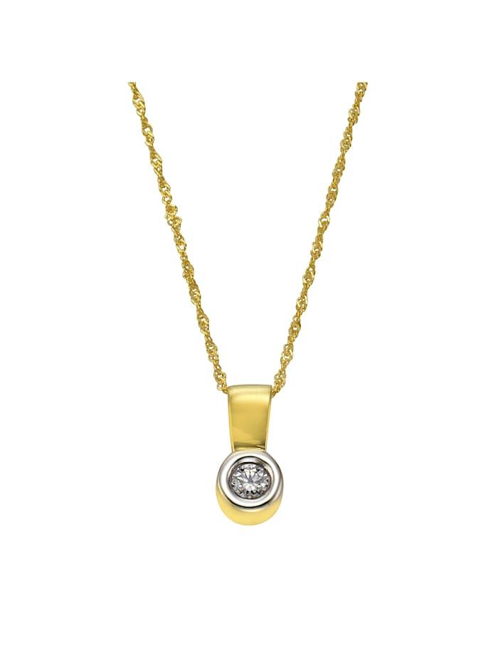 Celesta Anhänger mit Kette 375/- Gold Zirkonia weiß 43cm Glänzend, gelb