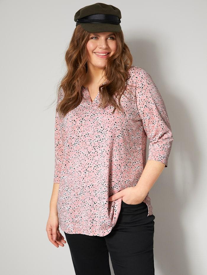 Janet & Joyce Shirt met bloemenprint, Roze/Kaki