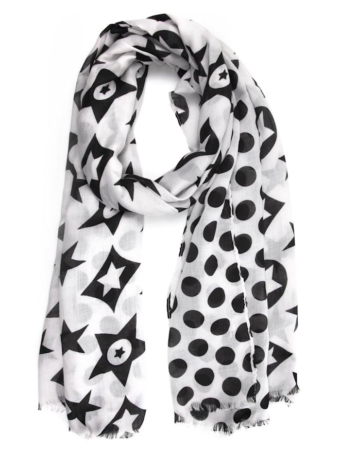 Collezione Alessandro Schal Paula mit Sternen und Punkten, schwarz weiß
