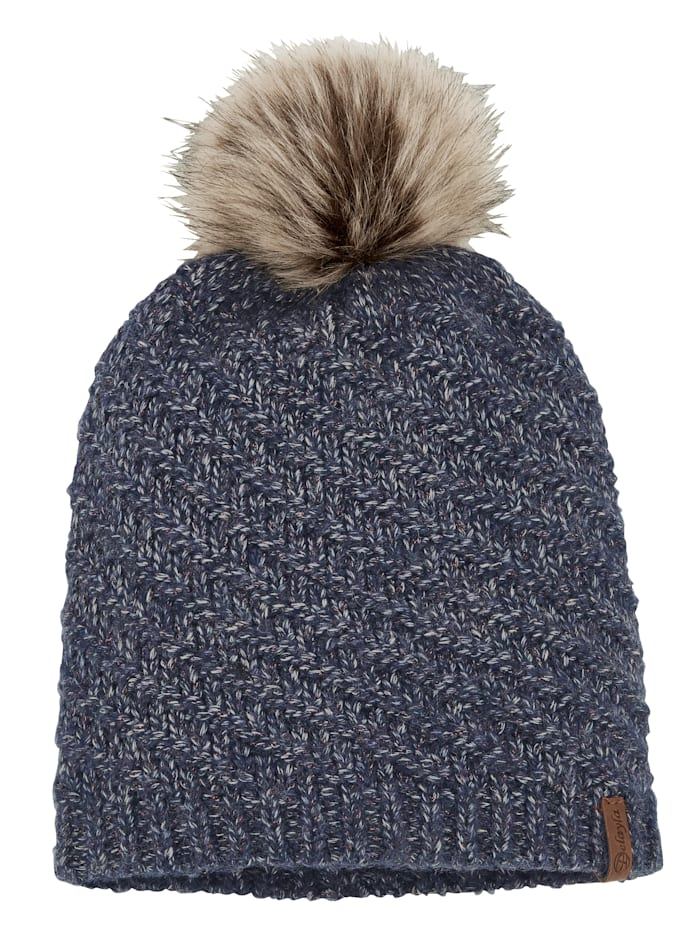 MONA Knitted hat with a touch of wool, Blue