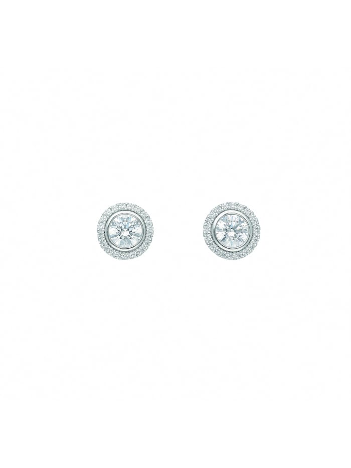 1001 Diamonds Damen Goldschmuck 585 Weißgold Ohrringe / Ohrstecker mit Zirkonia Ø 7 mm, silber