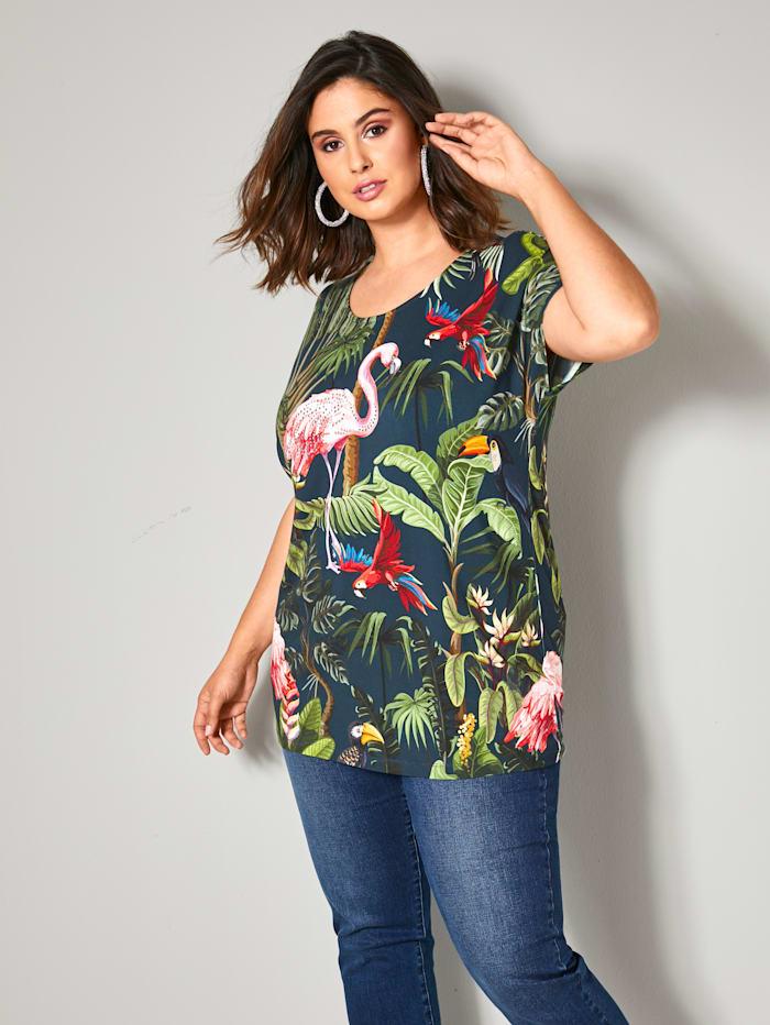 Sara Lindholm Shirt mit Tropical Printmuster, Petrol