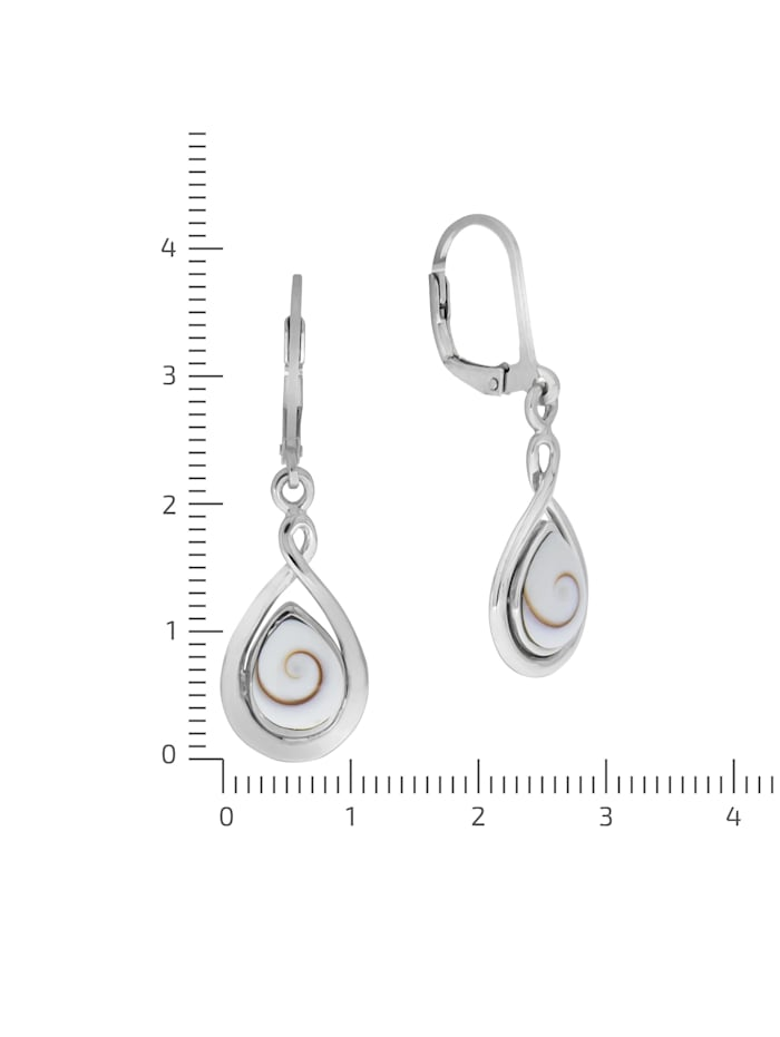 Ohrhänger 925/- Sterling Silber Muschel weiß 3,7cm Glänzend