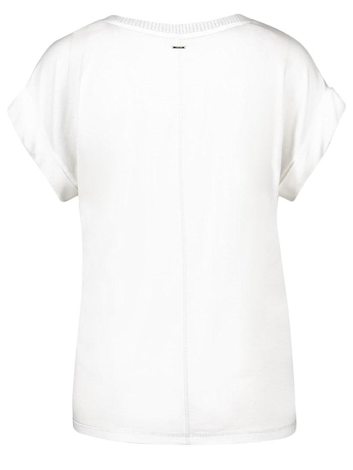 V-Shirt mit Crêpe-Front