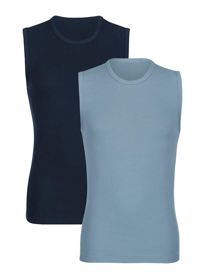 Mouwloze shirts per 2 stuks, Marine/Lichtblauw