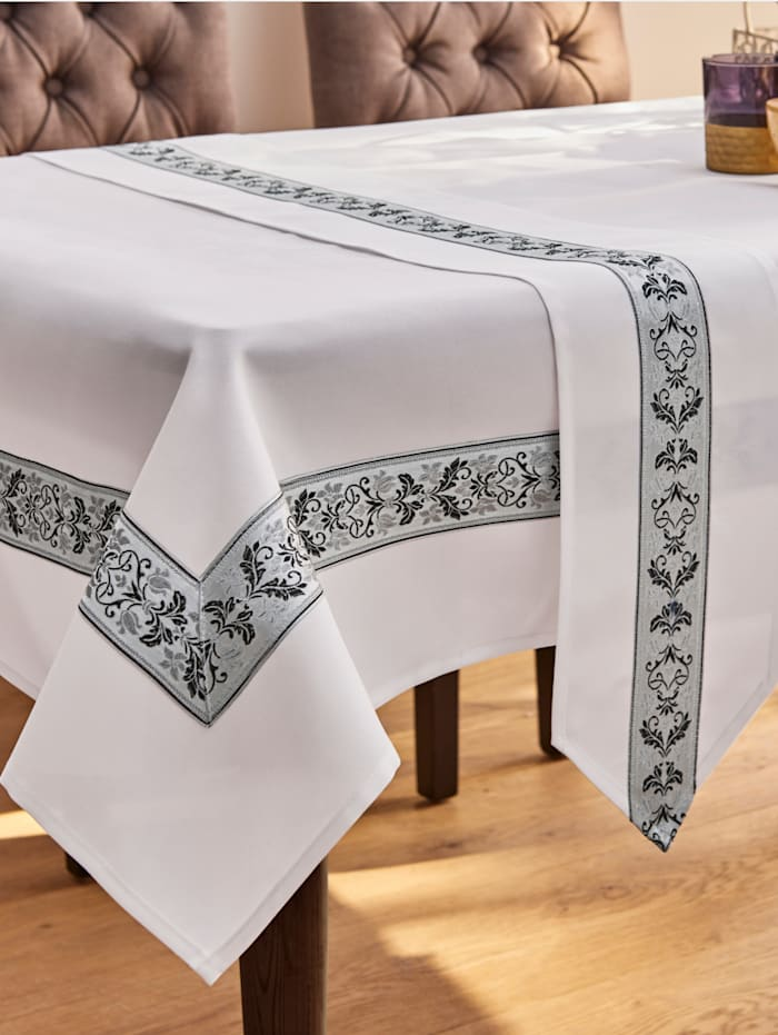 Webschatz Tischwäsche 'Aileen', weiß silber