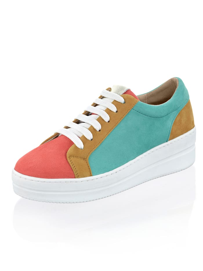 Alba Moda Sneaker im farbigen Patchwork, Türkis/Koralle/Senfgelb
