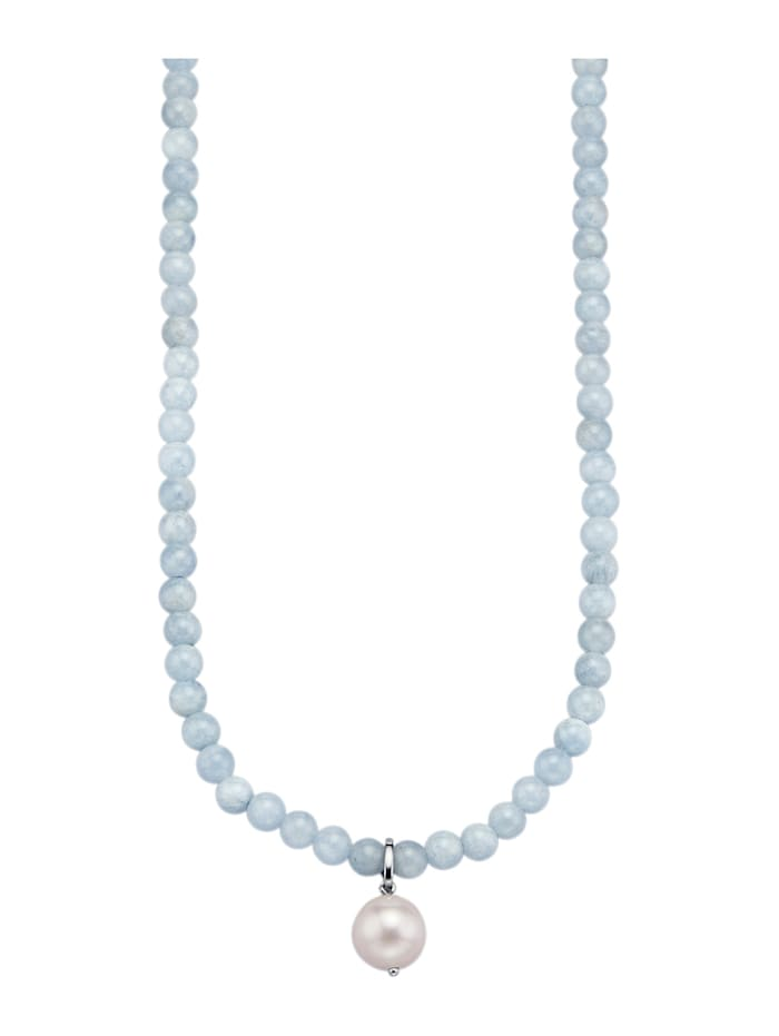 Amara Farbstein Anhänger mit Halskette in Silber 925, Blau