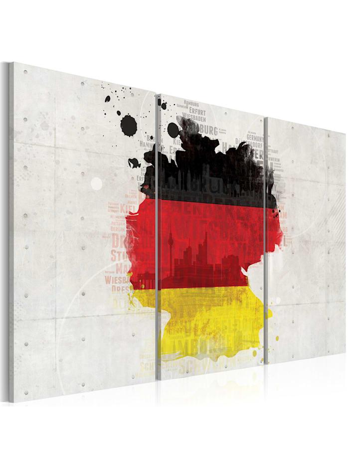 artgeist Wandbild Deutschlandkarte, black,red,yellow,white