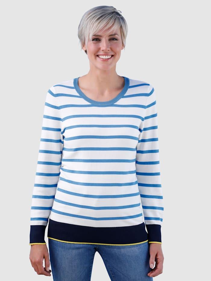 Dress In Raidallinen neulepusero, Sininen