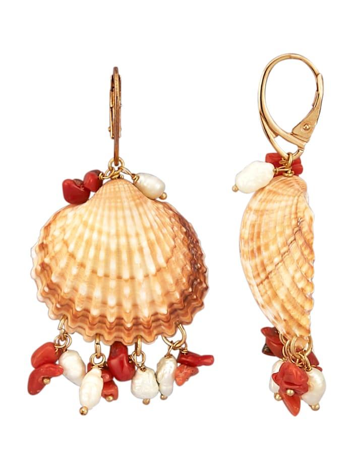 AMY VERMONT Ohrringe mit Muscheln und Perlen, Multicolor