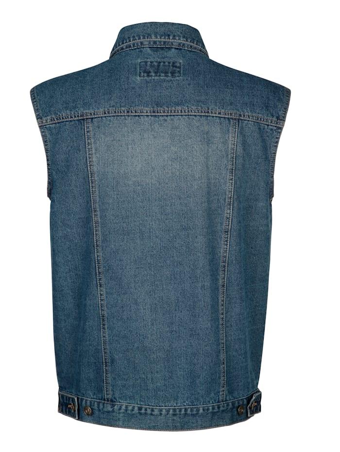 Gilet sans manches en jean à léger délavage