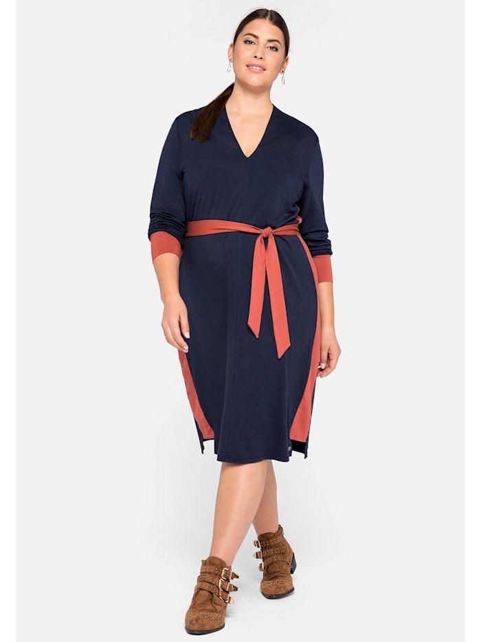 Sheego Sheego Kleid mit Kontraststreifen, marine