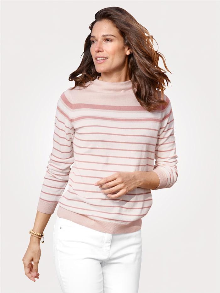 MONA Pullover im gestrickten Ringeldessin, Ecru/Rosenholz/Rosé