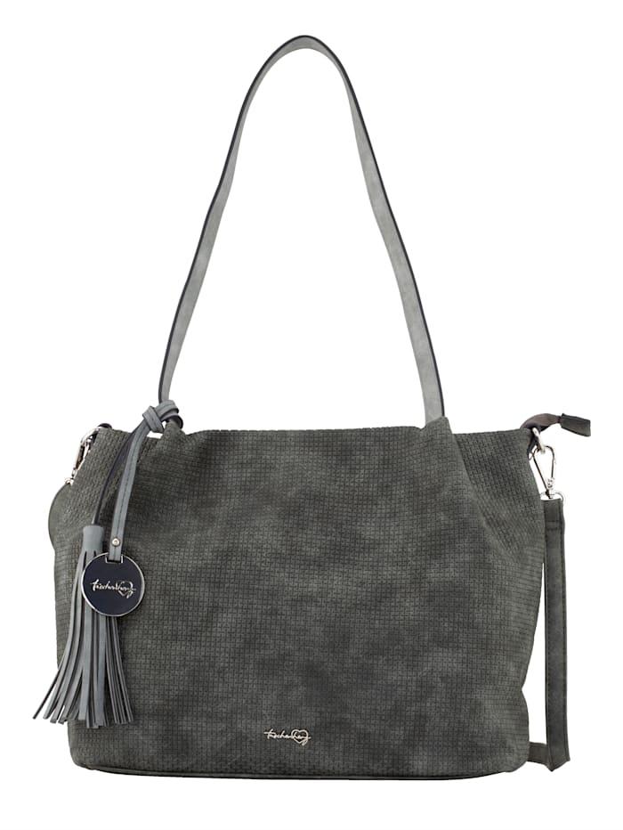 Taschenherz Shopper 2-tlg mit schöner Prägung 2-teilig, grau