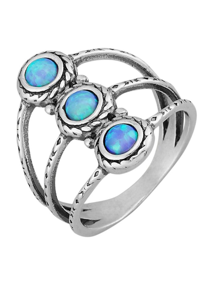 Damenring mit synth. Opalen, Silberfarben