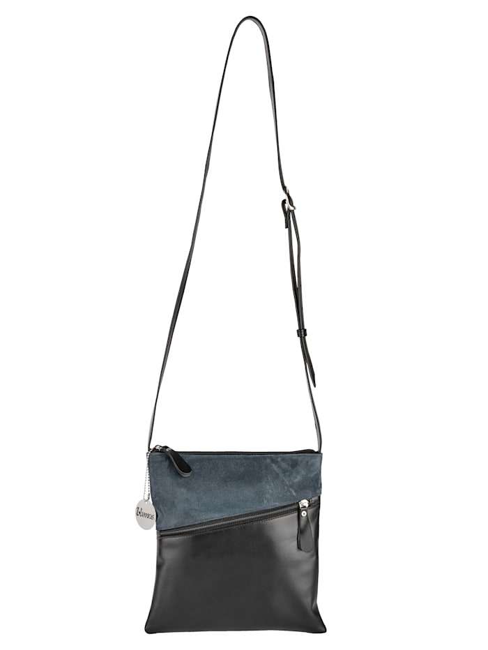 Vamos Umhängetasche aus hochwertigem Leder, Türkis/Schwarz