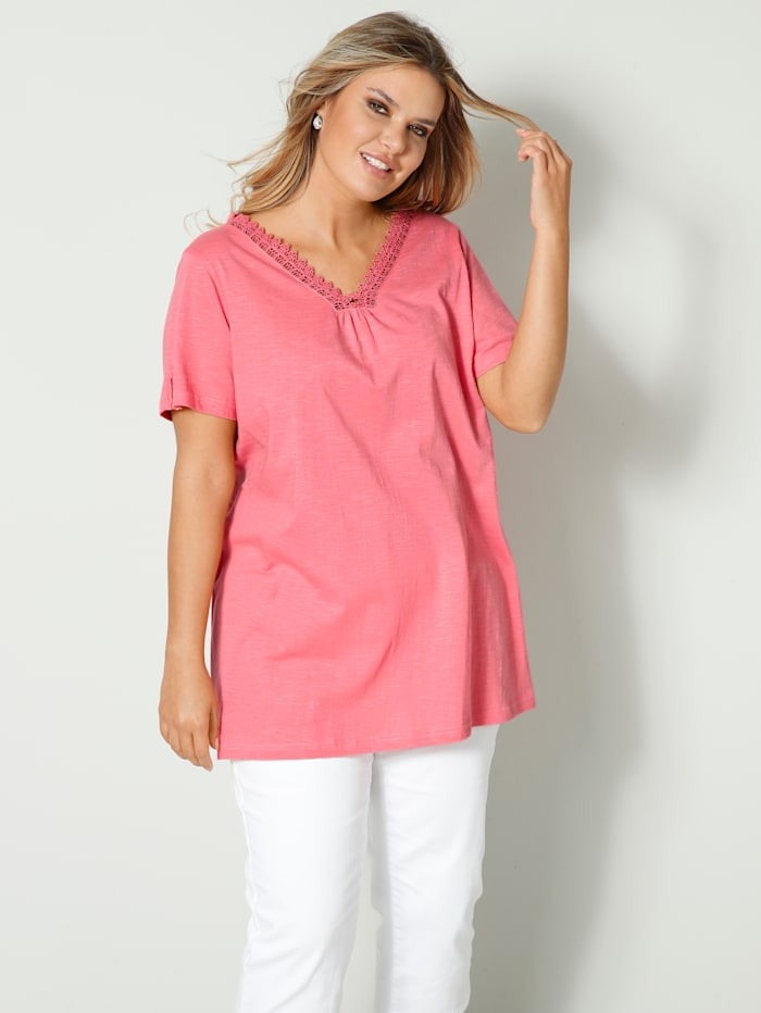 Janet & Joyce Shirt mit Spitze am Ausschnitt, Koralle