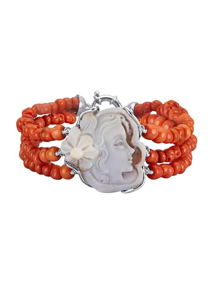 Amara Pierres colorées Bracelets coraux 3 rangs avec camée, Rouge