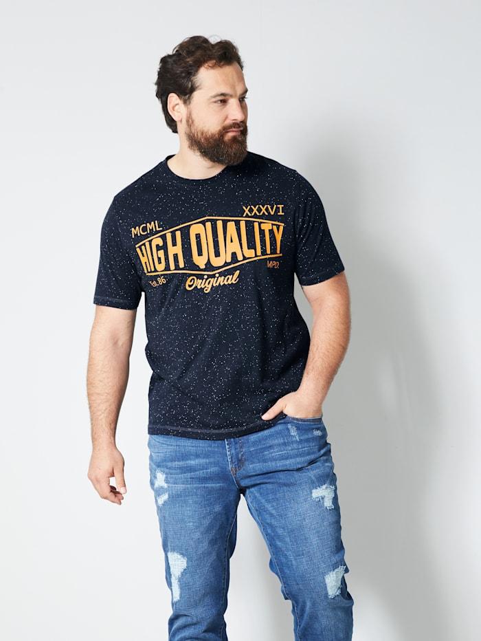 Men Plus T-Shirt mit platziertem Druck, Marineblau/Ecru