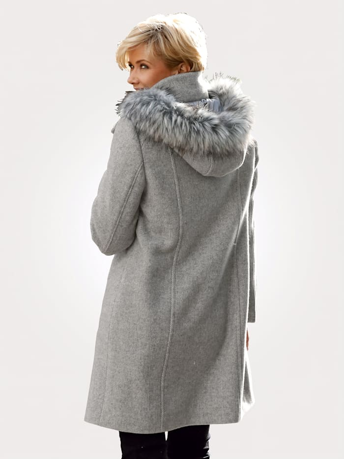 Wool-blend coat in faux fur