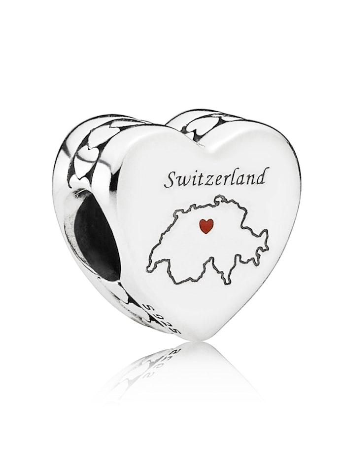 Pandora Charm -Herz- Schweiz- 792015 E004, Silberfarben