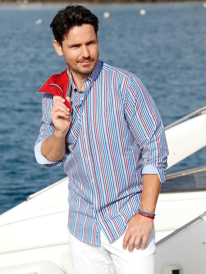 BABISTA Overhemd met ingebreid streeppatroon, Wit/Blauw/Rood