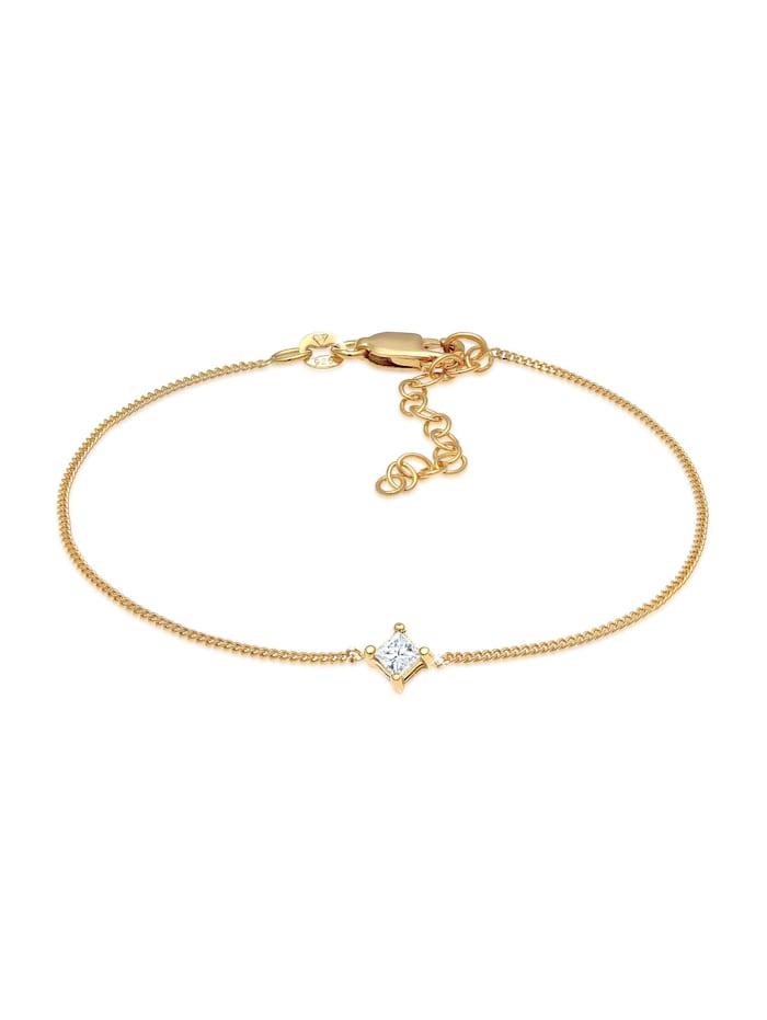 DIAMONDS Armband Solitär Viereck Diamant (0.1 Ct.) 925 Silber, Gold