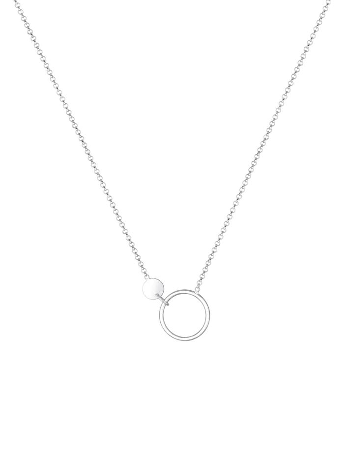 Halskette Erbskette Kreis Plättchen Geo Design 925 Silber