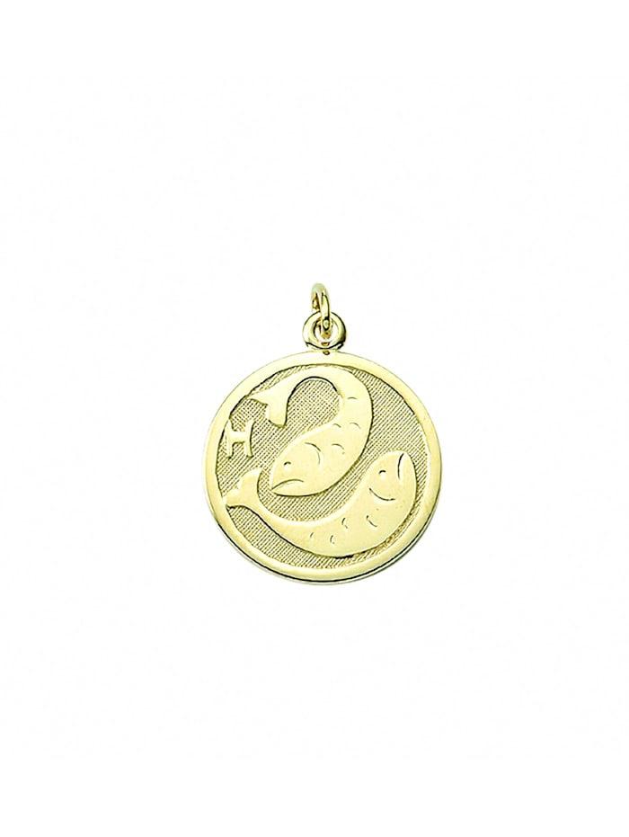 1001 Diamonds Damen & Herren Goldschmuck 333 Gold Sternzeichen Anhänger Fisch Ø 16 mm, gold