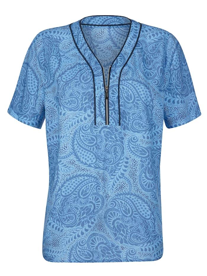 Bluse mit dekorativer Paspel am Ausschnitt