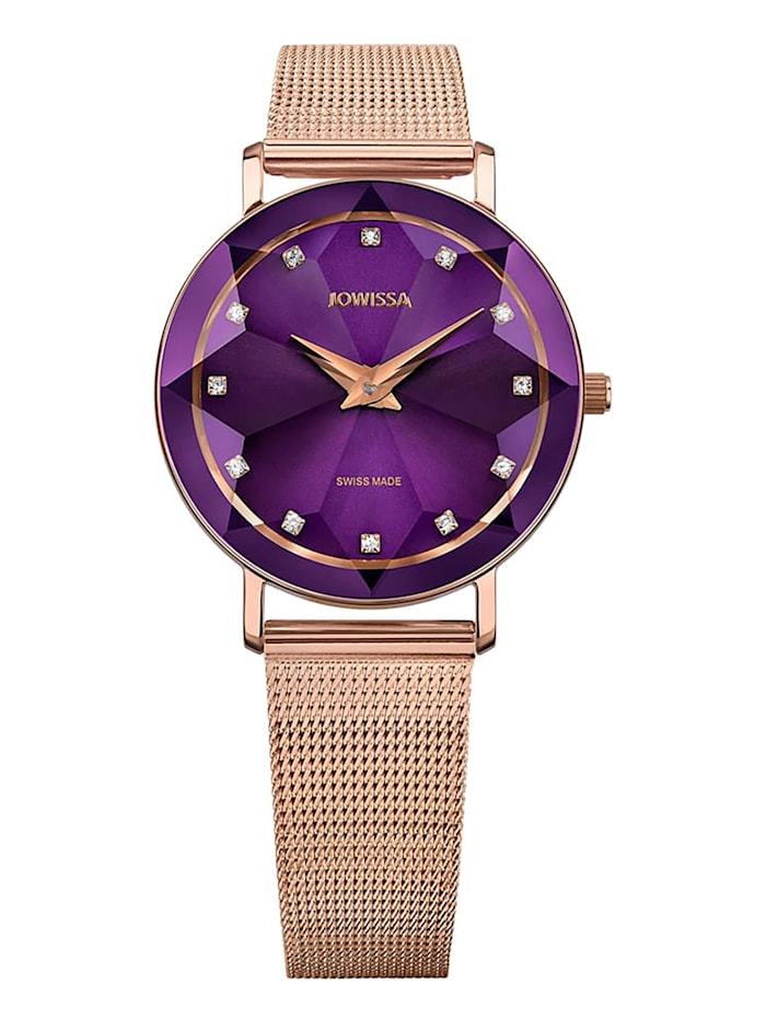 Jowissa Quarzuhr Facet Swiss Ladies Watch, violett