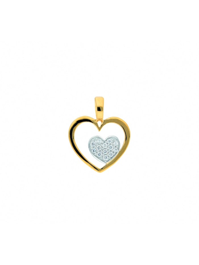 1001 Diamonds 1001 Diamonds Damen Goldschmuck 585 Gold Anhänger Herz mit Zirkonia, gold